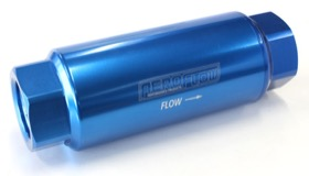 <strong>60 Micron Pro Filter with -12AN ORB Ports</strong> <br />Blue Finish. 5-1/2&quot; x 2&quot;
