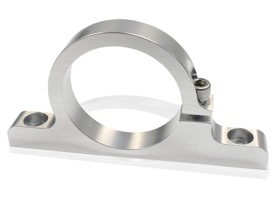 "<strong>Single Billet Filter Bracket</strong><br /> Polished Finish. Suits 2-1/2"" Diameter Filters or Remote Reservoirs"