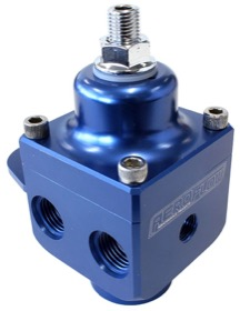 <strong>Billet 4 Port Carburettor Fuel Pressure Regulator -6AN ORB </strong> <br />Blue Finish. 4-12 psi. Rated to 1600 HP