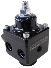 <strong>Billet 4 Port Carburettor Fuel Pressure Regulator -6AN ORB </strong> <br /> Black Finish. 4-12 psi. Rated to 1600 HP