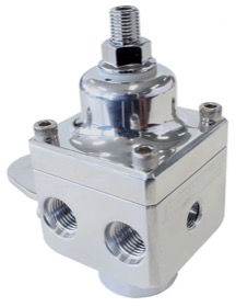 <strong>Billet 4 Port Carburettor Fuel Pressure Regulator -6AN ORB </strong> <br /> Polished Finish. 4-12 psi. Rated to 1600 HP