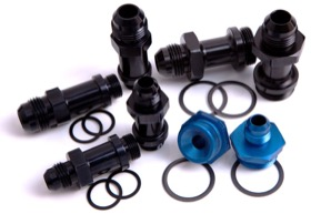 <strong>Carburettor Adapter - Male 3/8&quot; Barb to 7/8&quot; x 20</strong><br /> Black Finish. Suit Holley Inlet Feed