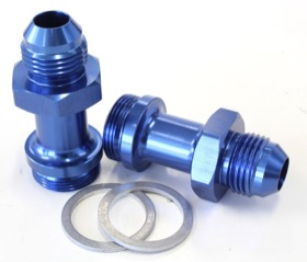 "<strong>Carburettor Adapter - Male 7/8"" x 20 to -8AN </strong><br />Blue Finish. Suit Holley Inlet Feed"