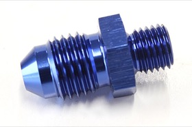 <strong>Metric to Male Flare Adapter M8 x 1.0mm to -4AN </strong><br />Blue Finish