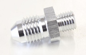 <strong>Metric to Male Flare Adapter M8 x 1.0mm to -4AN </strong><br />Silver Finish