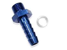 <strong>Barb Adapter M18 x 1.5mm to 5/8&quot;</strong> <br />Blue Finish