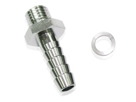 <strong>Barb EFI Fuel Pump Adapter M14 x 1.5mm to 5/8&quot;</strong><br /> Silver Finish