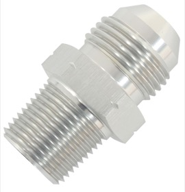 <strong>BSPP Tapered To AN Male Adapter</strong><br /> 1/4quot; to -6AN, Silver Finish