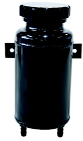 "<strong>Universal Fabricated Alloy Radiator Overflow Tank </strong><br /> 800ml capacity, 7-1/2"" H x 3-1/2"" Dia., Black"