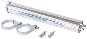 "<strong>Billet Aluminium Radiator Over Flow Tank - Polished</strong><br /> Includes 3/8"" Barb Fittings & Mounts. 13"" (325mm) Height x 2"" (50mm) Diameter"