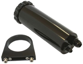 "<strong>Billet Power Steering Reservoir - Black</strong> <br /> 440 ml capacity, 2.-7/8"" O.D., 8-3/4"" H, billet brackets included"
