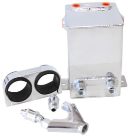 <strong>Dual EFI Pump Surge Tank Kit - Polished</strong> <br />Kit includes Surge Tank, Dual Billet Fuel Pump Bracket, Check Valves & Y-Block. Fuel Pumps NOT Included