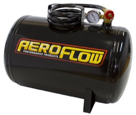 <strong>5 Gallon Steel Portable Air Tank - Black (125 PSI Max)</strong><br /> Includes Valve, Air Line & Pressure Gauge.