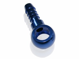 <strong>Alloy Barb Banjo 12mm to 8mm</strong><br /> Blue Finish