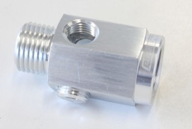 "<strong>Metric Extension with 1/8"" Port</strong><br /> Silver Finish. M16 x 1.5 Thread"