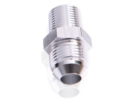 "<strong>NPT to Straight Male Flare Adapter 3/8"" to -3AN</strong><br />Silver Finish"