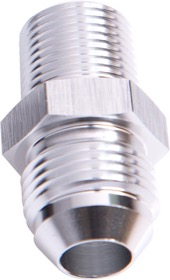 "<strong>NPT to Straight Male Flare Adapter 3/8"" to -6AN</strong><br /> Silver Finish"
