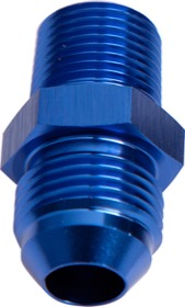 "<strong>NPT to Straight Male Flare Adapter 1"" to -20AN</strong><br /> Blue Finish"