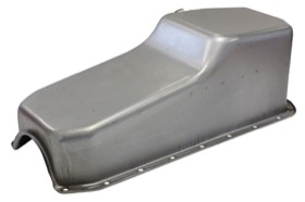 <strong>Replacement Oil Pan, Raw Finish</strong><br />Suit SB Chev L/H Dipstick, 2-Piece Seal (5.0L Capacity)