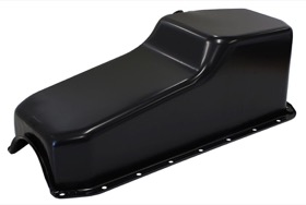 <strong>Replacement Oil Pan, Black Finish</strong><br /> Suit SB Chev L/H Dipstick, 2-Piece Seal (5.0L Capacity)