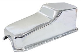 <strong>Replacement Oil Pan, Chrome Finish</strong><br /> Suit SB Chev L/H Dipstick, 2-Piece Seal (5.0L Capacity)