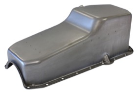 <strong>Replacement Oil Pan, Raw Finish</strong><br />Suit SB Chev R/H Dipstick, 2-Piece Seal (5.0L Capacity)
