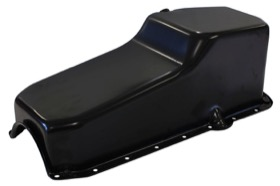 <strong>Replacement Oil Pan, Black Finish</strong><br /> Suit SB Chev R/H Dipstick, 2-Piece Seal (5.0L Capacity)