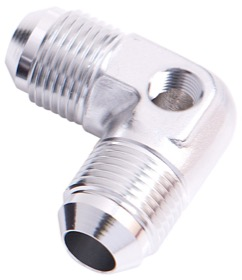 "<strong>90° Male Flare Union with 1/8"" Port -8AN</strong><br /> Silver Finish"
