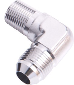 <strong>90&deg; NPT to Male Flare Adapter 3/8&quot; to -8AN</strong><br /> Silver Finish