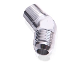 "<strong>45° NPT to Male Flare Adapter 3/8"" to -10AN</strong><br /> Silver Finish"