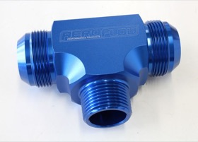 "<strong>Tee with NPT On Side 1"" to -20AN</strong> <br /> Blue Finish"