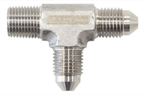 <strong>Tee with NPT On Run 1/8&quot; to -3AN</strong> <br />Stainless Steel Finish