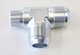 "<strong>Tee with NPT On Run 3/4"" to -16AN</strong> <br /> Silver Finish"