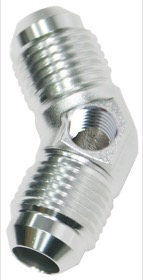 <strong>45&deg; Male Flare Union -6AN</strong><br /> With 1/8&quot; NPT Port. Silver Finish