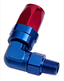 "<strong>Male NPT Taper Swivel 90° Hose End 3/4"" to -16AN</strong><br /> Blue/Red Finish. Suit 100 & 450 Series Hose"