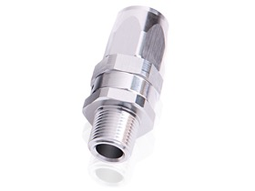 "<strong>Male NPT Taper Swivel Straight Hose End 1/2"" to -8AN</strong><br /> Silver Finish. Suit 100 & 450 Series Hose"