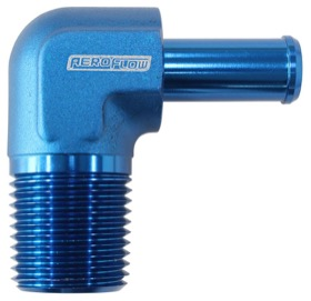 <strong>Male NPT to AN Barb 90&deg; Adapter 3/8&quot; to -6AN Hose</strong><br /> Blue Finish