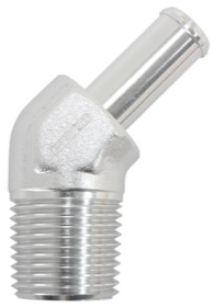 "<strong>Male NPT to Barb AN 45° Adapter 3/8"" to -10AN Hose</strong><br /> Silver Finish"