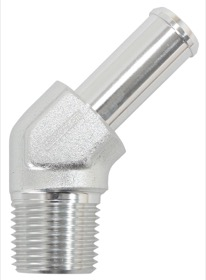 <strong>Male NPT to Barb AN 45&deg; Adapter 3/8&quot; to -8AN Hose</strong><br /> Silver Finish