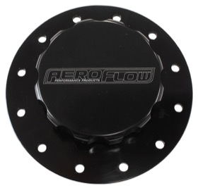 <strong>Screw-On Billet Fuel Cell Cap Assembly </strong> <br /> Black Finish With Bolts & Gasket.
