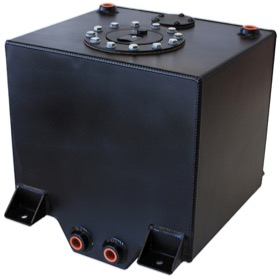 "<strong>Aluminium 5 Gallon (19L) Fuel Cell with Cavity/Sump (Black)</strong> <br />10-1/4"" L x 11-13/16"" W x 10-1/4"" H (26cm x 30cm x 26cm)"