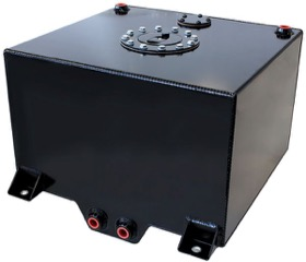 "<strong>Aluminium 10 Gallon (38L) Fuel Cell with Cavity/Sump (Black)</strong> <br />14-15/16"" L x 16-1/8"" W x 10-1/4"" H (38cm x 41cm x 26cm)"