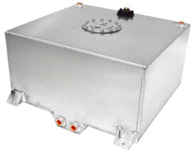 <strong>Aluminium 15 Gallon (57L) Fuel Cell with Cavity/Sump & Fuel Sender </strong><br /> 18-1/8&quot; L x 20-1/16&quot; W x 10-1/4&quot; H (46cm x 51cm x 26cm)