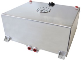 "<strong>Aluminium 25 Gallon (95L) Fuel Cell with Cavity/Sump & Fuel Sender </strong><br /> 25-1/4"" L x 24-3/8"" W x 10-1/4"" H (64cm x 62cm x 26cm)"