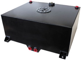 "<strong>Aluminium 25 Gallon (95L) Fuel Cell with Cavity/Sump & Fuel Sender (Black)</strong><br /> 25-1/4"" L x 24-3/8"" W x 10-1/4"" H (64cm x 62cm x 26cm)"