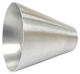 "<strong>Aluminium Transition Cone</strong><br />2"" (51mm) O.D To 5"" (127mm) O.D, 4"" (100mm) Long"