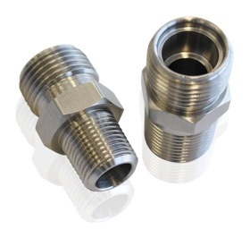 "<strong>NPT to A/C Fitting Adapter</strong><br />3/8"" NPT to -10 A/C O-Ring"