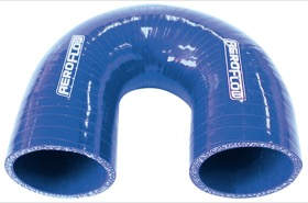"<strong>180° Silicone Hose Elbow 1"" (25mm) I.D </strong><br />Gloss Blue Finish. 3-15/16"" (100mm) Leg"
