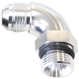 <strong>90° ORB to Male AN Full Flow Adapter -10 ORB to -8AN </strong><br />With Jam Nut, Silver Finish