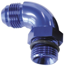 <strong>90° ORB to Male AN Full Flow Adapter -8 ORB to -8AN </strong><br />With Jam Nut, Blue Finish